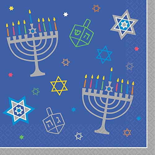 Eight Happy Nights Hanukkah Luncheon Napkins, 6.5' x 6.5', 36 Ct.