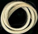 1matassa di vero crine di cavallo per archetto per violino, Natural White