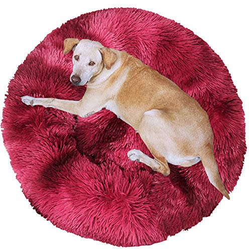 HANHAN Donut Dog Bed Cave Jumbo Calming Comfy Bedding XXL Extra Large Crate Pad Plush Cushion Anxiety Sleep Wicker Orthopedic Medium Fluffy Machine Washable red