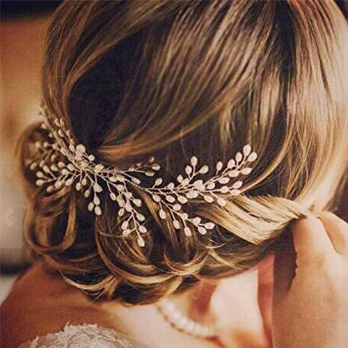 Deniferymakeup Haarkamm mit Perlen, eleganter Brautschmuck, handgemachter Kopfschmuck, Hochzeitszubehör, Perlenschmuck, Diadem für die Braut, Haarkamm für Hochzeit oder Ball