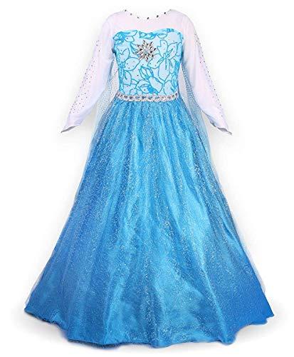 Ecparty Princess Costumes Dress for Your Little Girls Dress up (5T, Elsa Dress Blue)
