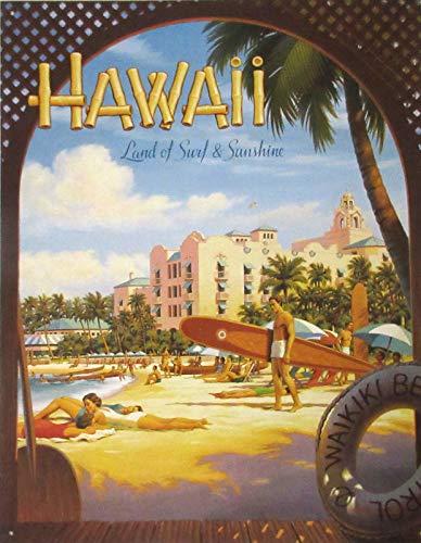 Nostalgie-Blechschild - Erickson - Hawaii Sun and Surf 31x40cm