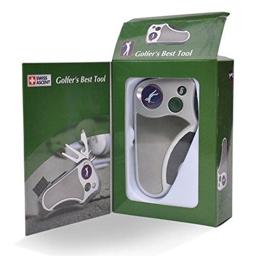 La mejor herramienta de golfista Golf multiherramienta todo en uno - stroke contador, herramienta para reparar piques de golf, mejor Golf Regalo Idea para hombres mujeres, Souvenir, presente