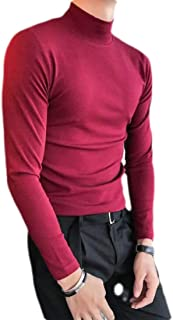 UUYUK Mens Long Sleeve Mock Neck Solid Slim Fit Fleece T-Shirt Tee