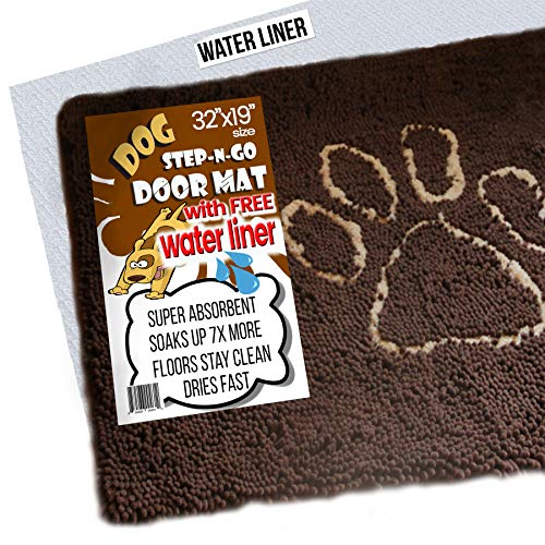 iPrimio Dog Extra Thick Micro Fiber Pet and Dog Door Mat - Super Absorbent. Includes Water Proof Liner - Extra Floor Protection - Medium Size 32' X 19' Exclusive Brown Color