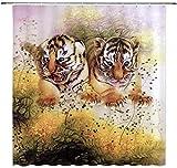 Wildlife Animal Decor EIN Paar kleine Tiger Sharp-Witted Grass Duschvorhang 180X180Cm