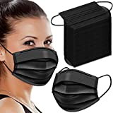 WAPIKE Black Face Masks, 100 Pcs Black Disposable Face Masks 3 Ply Filter Protection