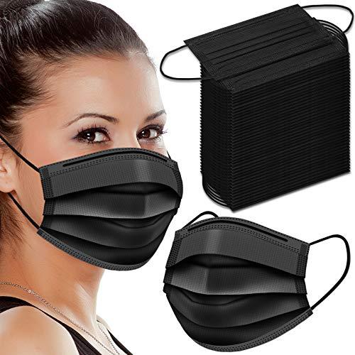 WAPIKE Black Face Masks, 100 Pcs Black Disposable Face Masks 3 Ply Filter Protection