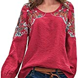 Camiseta De Manga Larga para Mujer Blusa Bordada Vintage Camisas De Algodón De Manga Larga De Otoño Camisetas De Túnica con Cuello Redondo para Mujer