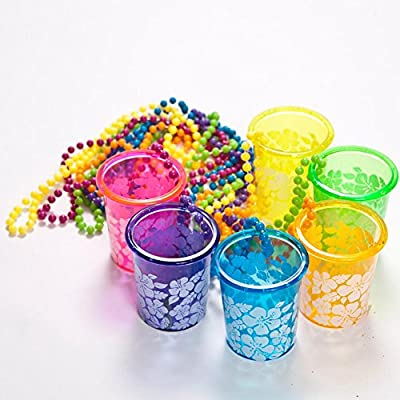 LUAU HIBISCUS SHOT GLASS BEAD NECKLACE - Jewelry - 12 Pieces