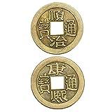 DOMIRE China Fortune Monedas, Chino Feng Shui Monedas Monedas significativas de Fortuna con la Red de Cadenas para la Riqueza y Buena Suerte 2 Piezas