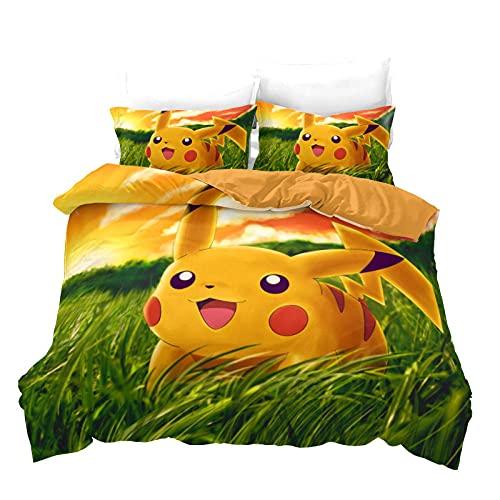 Ropa De Cama Infantil Pokémon Pikachu Funda Nordica 135X200 Cm 100% Poliéster con Cremallera con 2 Fundas De Almohada 50X70 Cm Apto para Camas Individuales