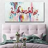 Imagen de Arte de Pared de Lienzo de Gran tamaño nórdico Moderno Animal Sala de Estar Grabador con salón de Belleza,Pintura sin Marco,60x120cm