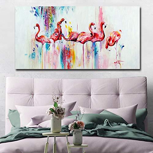 Große Leinwand Wandkunst Bild nordischen modernen Tier Wohnzimmer Grafiker mit Salon Schönheit,Rahmenlose Malerei,30x60cm