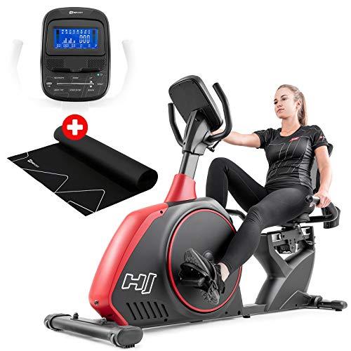 Hop-Sport Liegeergometer HS-095L inkl. Unterlegmatte - Sitzergometer mit Bluetooth & App-Steuerung, Trainingsprogrammen und Magnetwiderstand – Liegeheimtrainer für Zuhause max. Nutzergewicht 150kg