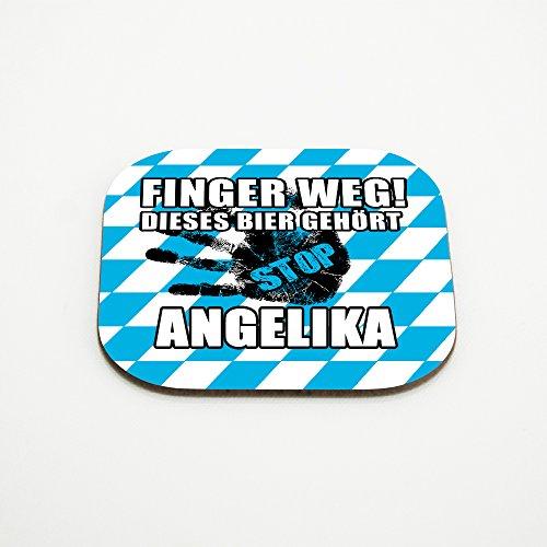 Untersetzer für Gläser mit Namen Angelika und schönem Motiv - Finger weg! Dieses Bier gehört Angelika