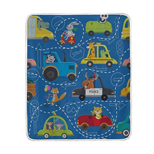 "ZSHMG Throw Blanket Funny Animals On Transport Kids Cartoon Soft Blanket Warm Plush Blanket for Sofa Chair Bed Office Gift Best Friend Women Men 50""x60"" Thin Throw Blanket"