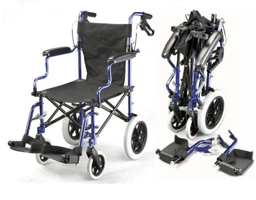 Lightweight Deluxe Folding Transport Travel Wheelchair in a Bag with Handbrakes and Height Adjustable footrests ECTR04