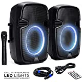 Best Choice Products 2000W Dual 2-Way Full Range Wireless Speakers, Portable PA System w/ 12in Woofers, Wireless Microphone, Remote, AUX and USB Input, Cables