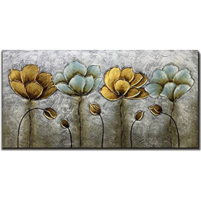 Yotree Paintings, 24x48 Inch Paintings Elegant Flowers Oil Hand Painting Painting 3D Hand-Painted On Canvas Abstract Artwork Art Wood Inside Framed Hanging Wall Decoration Abstract Painting from Yotree