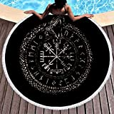 MINNOMO Jahrgang Wikinger Vegvisir Skandinavisch Runen Schlange Knoten Druck Runde Strandtüch mit Quasten Jahrgang Teppich im Freien White 150cm