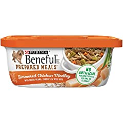 Eight (8) 10 oz. Tubs - Purina Beneful Gravy Wet Dog Food; Prepared Meals Simmered Chicken Medley Real chicken provides quality protein and savory goodness Made with real green beans, carrots and wild rice for wholesome goodness you can see 23 essent...