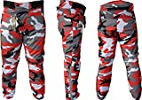 Warrior Camo Mens Moto Tousers | Camuflaje | Impermeable | Transpirable | Protección CE Biker Cordura Pantalones textiles para hombre… (W48 L32, Rojo)