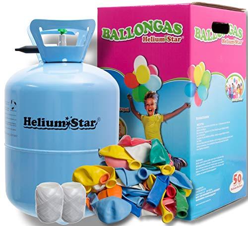 Helium Ballongas für bis zu 50 Ballons + 50 Bunte Latexballons (Ø 25cm) + Polyband HeliumStar® Einwegflasche XXL EINWEG