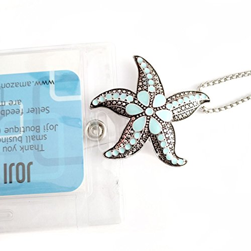 Antiqued Silver Starfish with Aqua Enamel: Lanyard Chain Necklace (Plus Two Clear Pouch/ID/Badge/Card Holders)