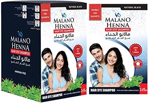 Malano Henna Hair Dye Shampoo   Aloevera & Henna   Black hair shampoo  Permanent hair Color   black Hair Dye  Shampoo Based Hair Dye   30ml (30mlx12 Sachets)