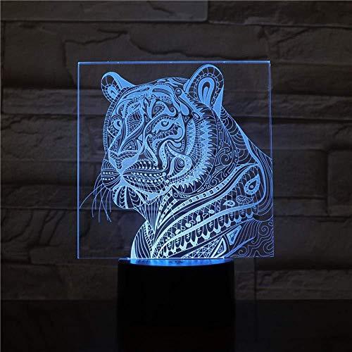 3D Night Light GX-2491 Tiger en pantalla 7 colores Decoración Luz de mesa Ilusión óptica Cambio con control remoto Regalos de cumpleaños para