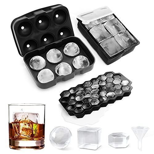 AcrossSea Eiswürfelform Silikon Combo Formen - 3er Set, Kugel-Eis Bereiter, große Würfel & sechseckige Eisformen mit Deckel, Flexible Eiswürfelform für Whiskey, LFGB zertifiziert und BPA-frei