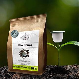 Carasso Bio Senza Espresso – 20 entkoffenierte, aluminiumfreie & kompostierbare Bio-Kaffeekapseln, Nespresso kompatibel