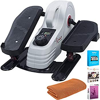 Sunny Health and Fitness Magnetic Under Desk Elliptical  SF-E3872  with Tech Smart USA Fitness & Wellness Suite & Workout Cooling Towel Orange
