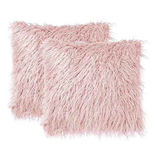 sourcing map Pack of 2 Soft Long Shaggy Faux Fur Throw Pillow Covers,Soft Plush Cushion Cover,Square Throw Pillowcases for Sofa Couch,18' x 18', Pink