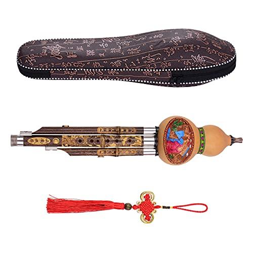 Calabaza flauta 3 Tonos C-key Hulusi Gourd Cucurbit Flate Black Bamboo Pipes Instrumento Tradicional Chino Con Estuche De Nudo Para Principiantes