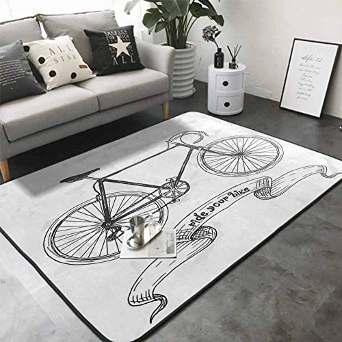 Office Chair Floor Mat Foot Pad Ride Your Bike Lettering with Nostalgic Mountain Bike Hand Drawn Sketchy 48'x 60' for Bedroom Garden Bathroomch