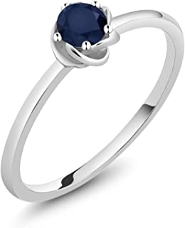 Gem Stone King 10K White Gold Blue Sapphire Gemstone Birthstone Solitaire Engagement Ring 0.24 Ct 3.5mm Round (Available 5,6,7,8,9)