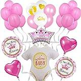Decoración de globos para Baby Shower de niña - Photocall rosa para adornar bautizo, Babyshower - Regalo Nacimiento bebé - Set de decoración de 24 piezas - Fiesta de bienvenida de niña recién nacida