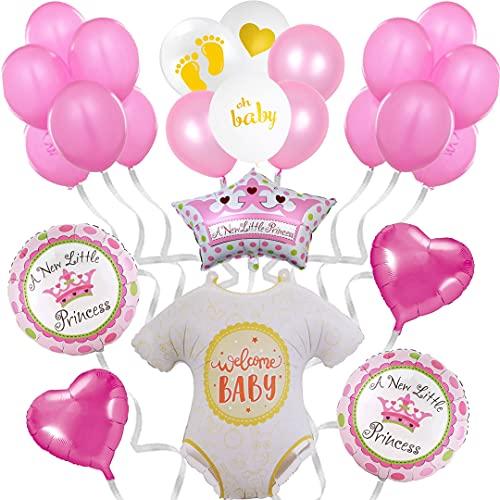 Decoración de globos para Baby Shower de niña - Photocall rosa para adornar bautizo, Babyshower - Regalo Nacimiento bebé - Set de decoración de 24 piezas - Fiesta de bienvenida de niña recién