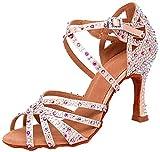 MGM-Joymod - Sandalias para mujer, diseño de tango social, estilo latino, moderno, para bodas, fiestas, etc., color Rosa, talla 35.5 EU