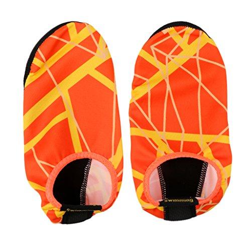 Baoblaze Hommes Et Femmes Barefoot Skin Aqua Chaussures Anti-Slip Multifonctionnel Slip-on Eau Chaussures Chaussettes pour Plage Piscine Surf Yoga Exercice - Orange, XXL (45-47)