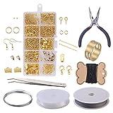 FineInno Bijoux Faisant Kit,Jewelry Making Supplies Kit Réparation Outils DIY Argent Kit de Fabrication de Bijoux, Or Kit de Conception de Bijoux