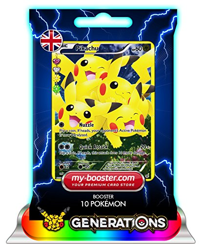 PIKACHU Full Art RC29/RC32 60HP XY Generations - Booster de 10 cartes Pokemon anglaises my-booster