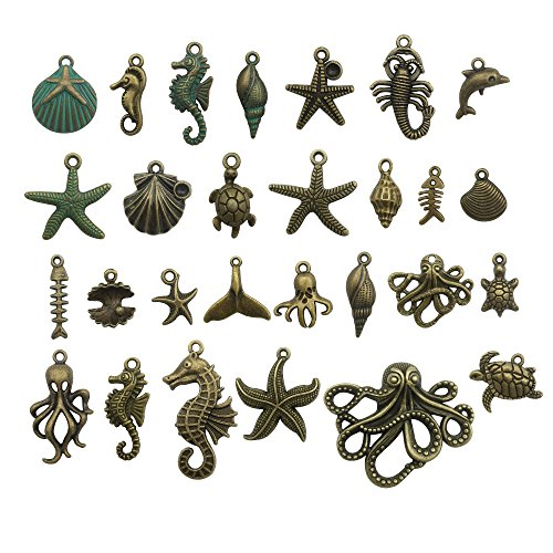 Bronze Marine Collection-100g Craft Supplies Ocean Fish Sea Creatures Charms Pendants for Crafting, Jewelry Findings Making Accessory for DIY Necklace Bracelet (M069)