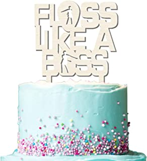 Floss Like A Boss Wooden Cake Toppers for Game Birthday Cake Decoration Party Supplies