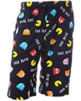 Pacman Men's Byte Me! Classic Arcade Game Allover Pattern Louge Sleepwear Pajama Shorts (SM) Black