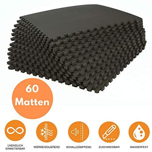 bonsport Schutzmatten-Set - 60 x Puzzle Matte á 40 x 40 cm :: Sportmatte Puzzlematte Fitnessboden