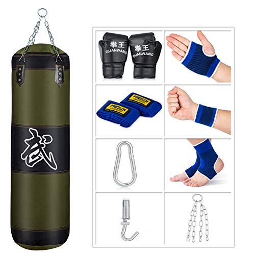 Sfeexun Punching Bag for Man Women Kids Indoor/Garden Boxing Bag Unfilled Heavy Bag Set with Punching Gloves Chain Ceiling Hook for MMA Kickboxing Muay Thai Karate Taekwondo