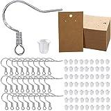 Kit de Fabricación de 500 Ganchos de Aretes con Respaldos de Pendientes Transparentes y Portatarjetas de Aretes Alambres de Aretes Plateado Tarjetas de Exhibición para Joyería de Bricolaje Navideña